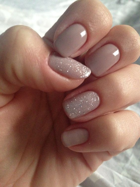 Nude glitter nails - 15 Chic Nail Designs - Part 9