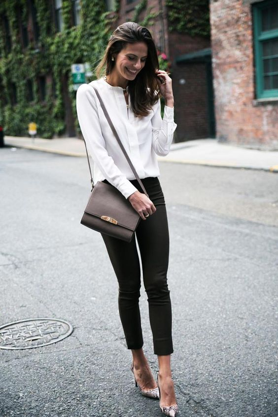Silk blouse and slim fit pants