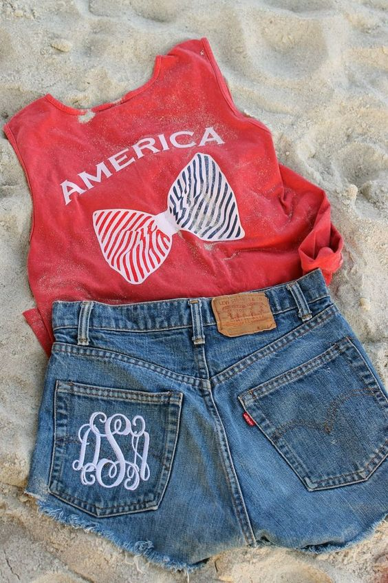 Denim shorts and patriotic T-shirt
